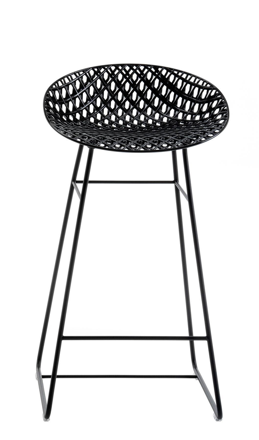 Mobilier - Tabourets de bar - Tabouret haut Smatrik / Outdoor - H 65 cm - Kartell - Noir - Acier inoxydable laqué, Polycarbonate