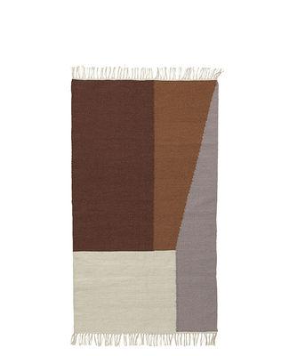 Interni - Tappeti - Tappeto Kelim Borders - / Small -  80 x 140 cm di Ferm Living - 80 x 140 cm / Marrone - Cotone, Lana