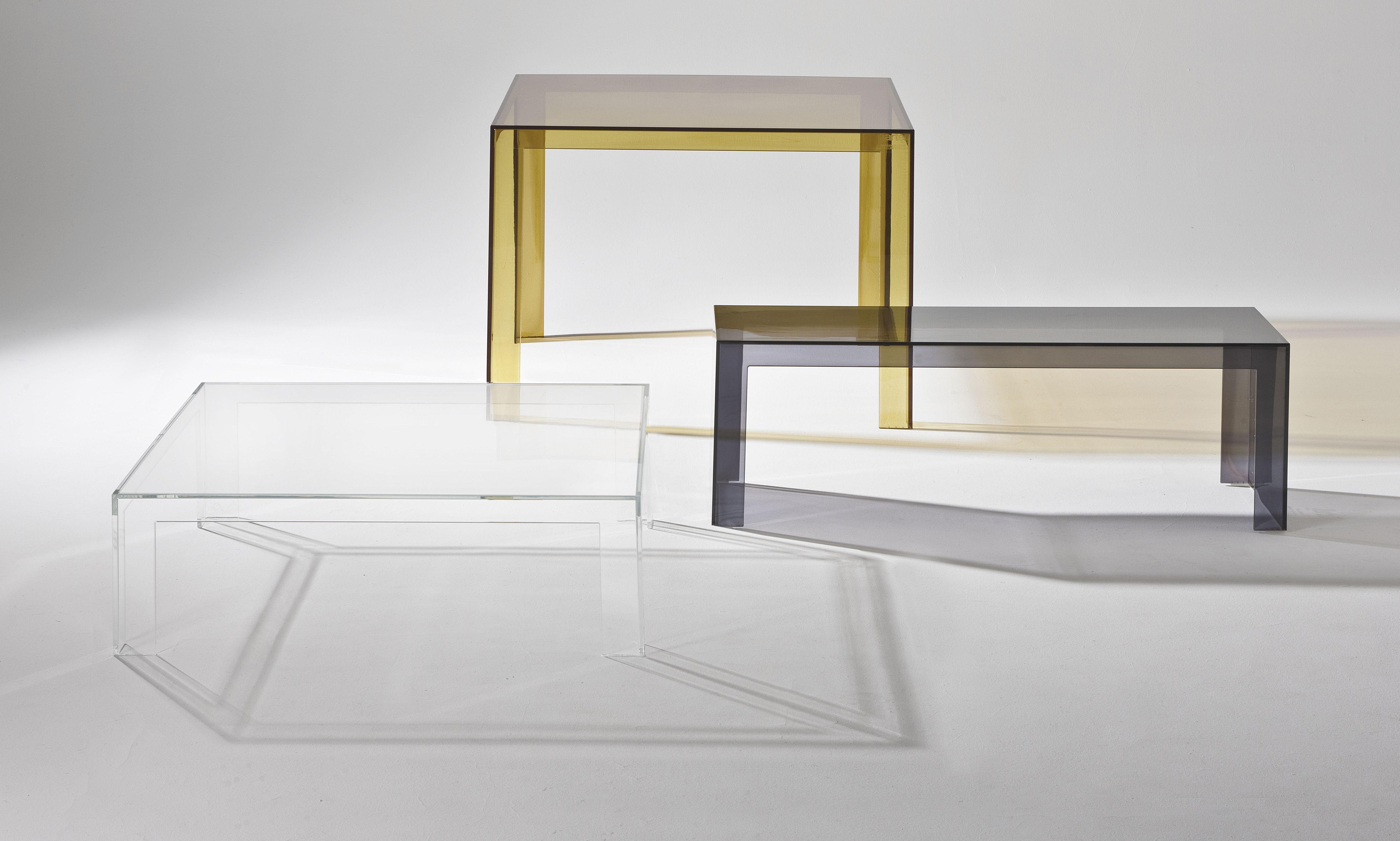 Scopri tavolino invisible low h 40 cm grigio fumé di kartell made
