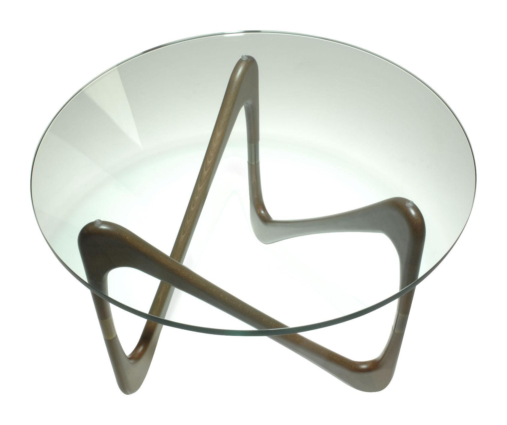 Arredamento - Tavolini  - Tavolino Moebius di Objekto - Struttura in faggio tinta noce - Faggio tinto, Vetro temprato
