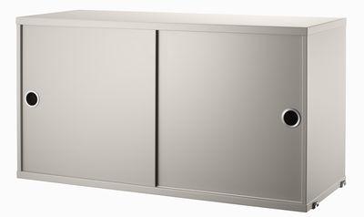 Caisson String System / 2 portes coulissantes - L 78 x P 30 cm - String Furniture beige en bois