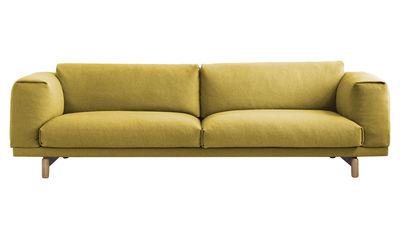 Canapé droit Rest / 3 places - L 260 cm - Muuto jaune,bois naturel en tissu