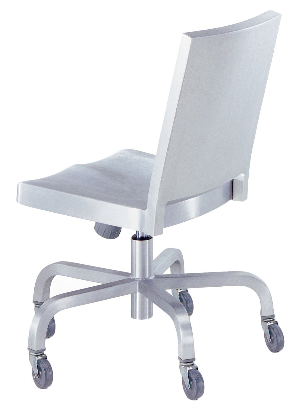 Mobilier - Fauteuils de bureau - Chaise à roulettes Hudson Outdoor / Alu brossé - Emeco - Alu brossé (outdoor) - Aluminium brossé recyclé