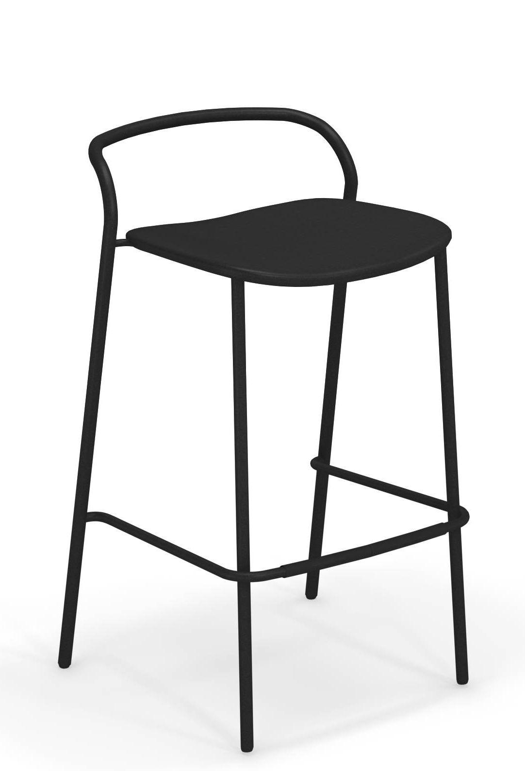 Mobilier - Tabourets de bar - Chaise de bar Zahir / H 75 cm - Métal - Emu - Noir - Acier verni