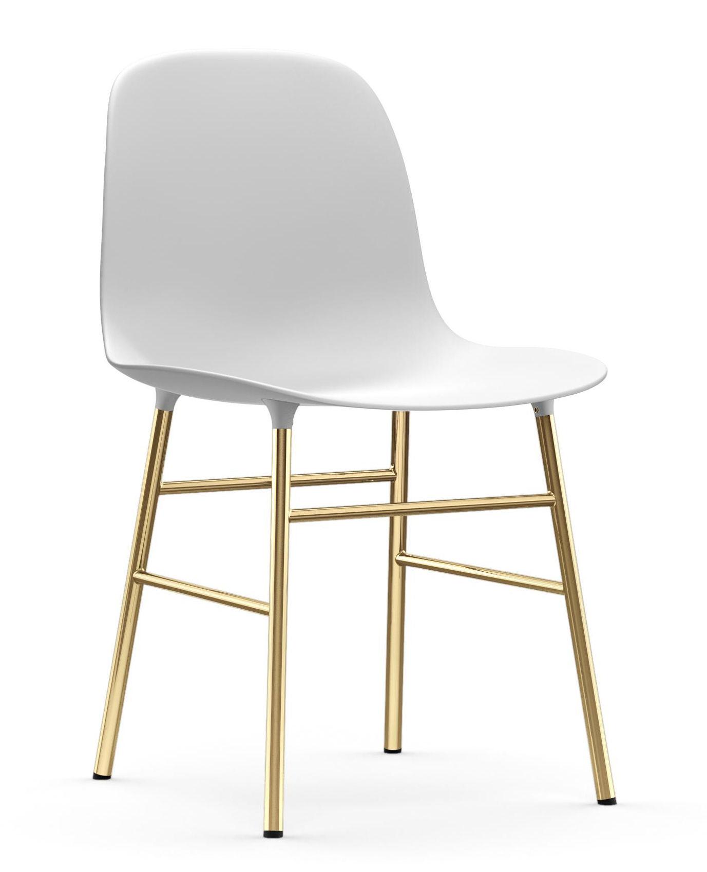 Mobilier - Chaises, fauteuils de salle à manger - Chaise Form / Pied laiton - Normann Copenhagen - Blanc / Laiton - Acier plaqué laiton, Polypropylène