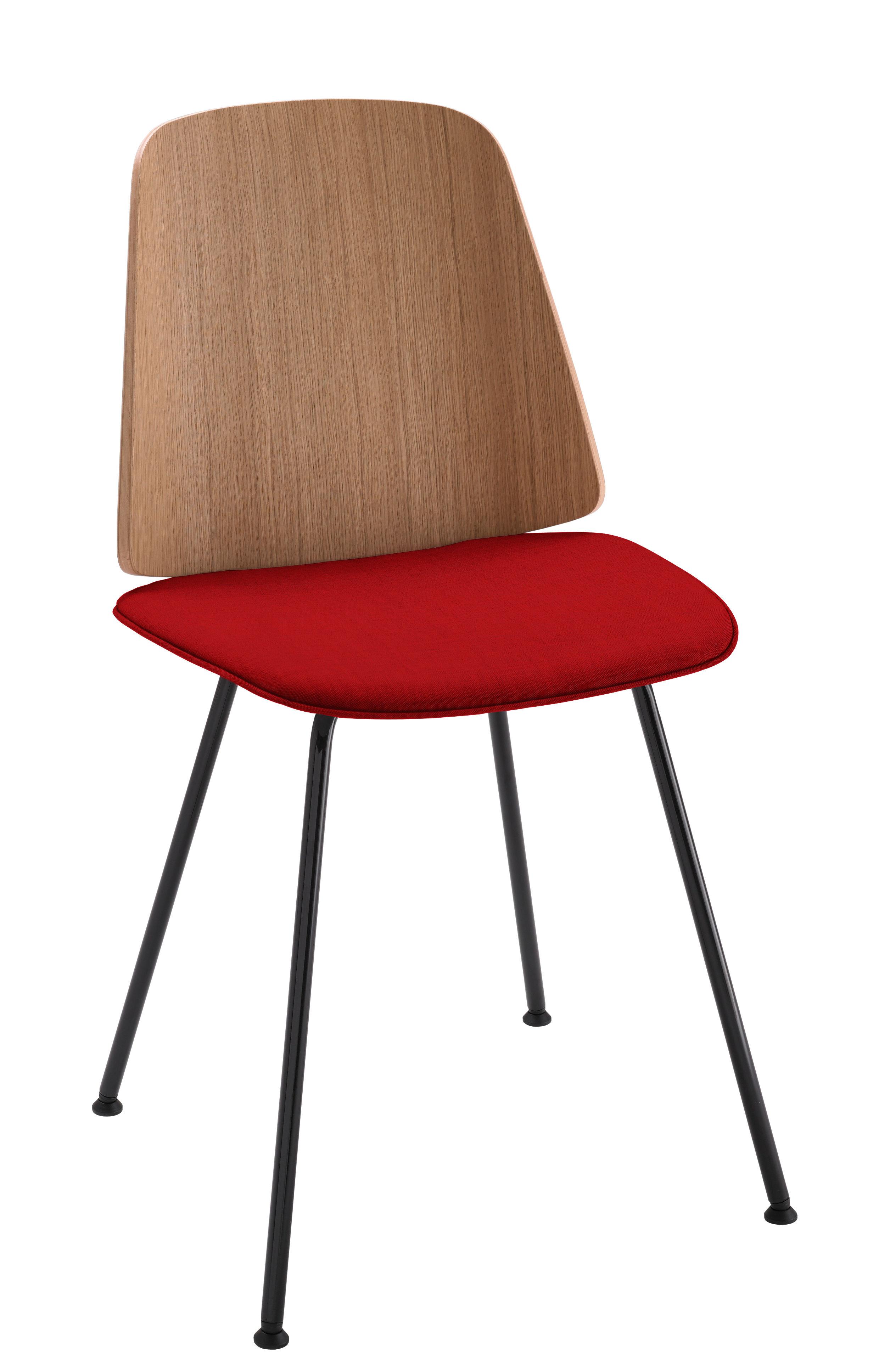 Chaise June Zanotta - Rouge/Noir/Bois naturel | Made In Design