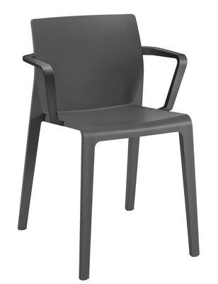 Mobilier - Chaises, fauteuils de salle à manger - Fauteuil empilable Juno / Polypropylène - Arper - Anthracite - Polypropylène