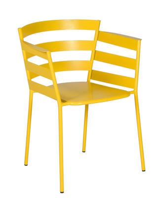 Mobilier - Chaises, fauteuils de salle à manger - Fauteuil empilable Rythmic / Acier - Fermob - Miel - Acier peint