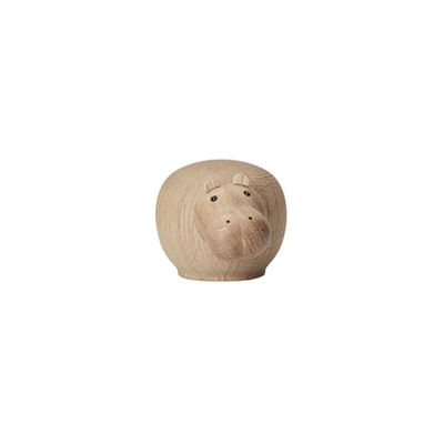 Déco - Pour les enfants - Figurine Hibo MINI / Hippopotame - L 9 cm - Woud - Hippopotame / Chêne - Chêne massif