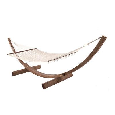 Outdoor - Sun Loungers & Hammocks - Amanda Hammock - / 2 seats - Cotton / With cushion by Unopiu - Ecru white / Walnut - Cotton, Laminated wood