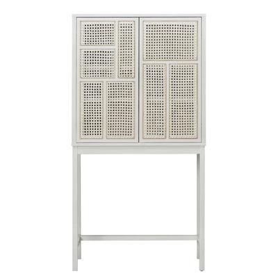 Möbel - Aufbewahrungsmöbel - Air Highboard / Rattan-Geflecht - L 80 x H 154 cm - Design House Stockholm - Weiß / Natürliches Rattan - eichenfurnierte Holzfaserplatte, massive Eiche, Rattan-Geflecht