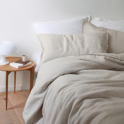 Housse de couette 140 x 200 cm / Lin lavé - Au Printemps Paris beige en tissu