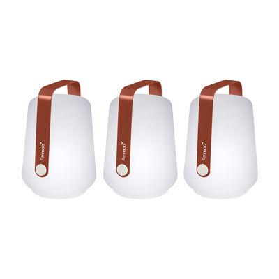 Luminaire - Lampes de table - Lampe sans fil Balad / H 13,5 cm - Set de 3 lampes - Fermob - Ocre Rouge - Aluminium, Polyéthylène