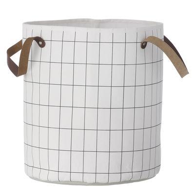 Déco - Paniers et petits rangements - Panier Grid Medium / Ø 35 x H 40 cm - Ferm Living - Quadrillage / Noir & blanc - Coton