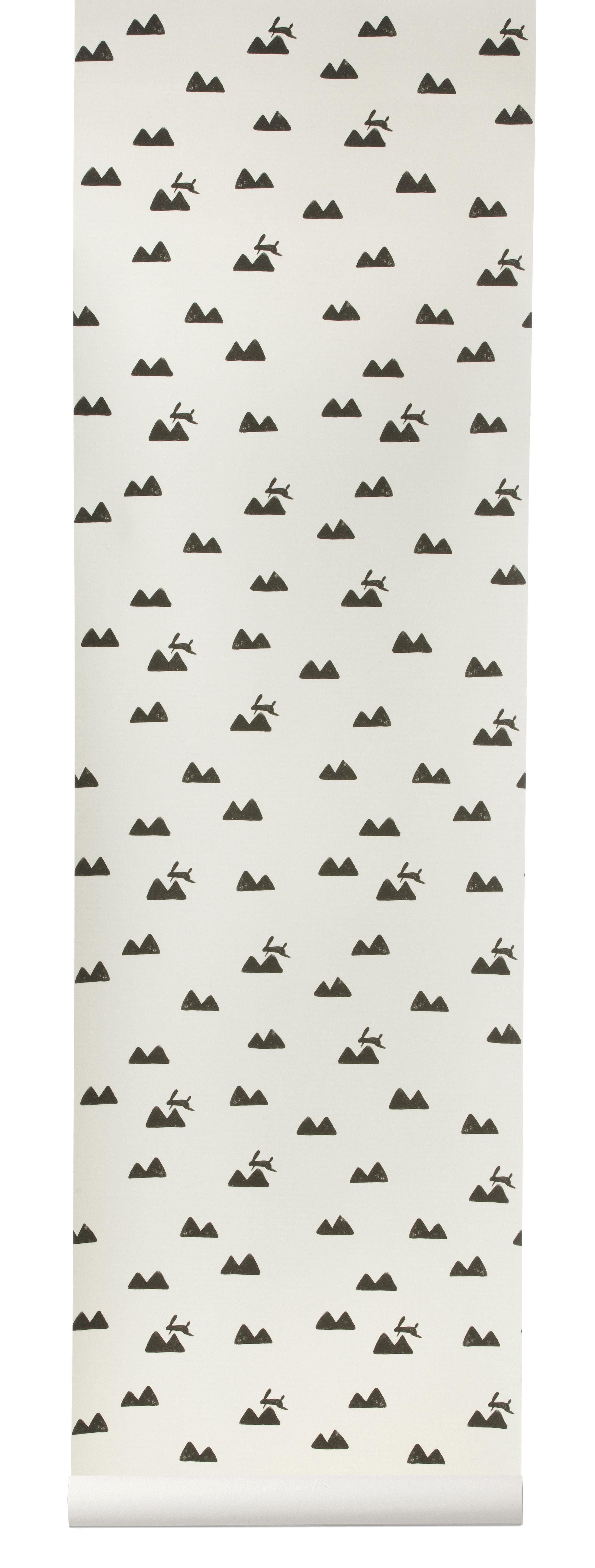 Déco - Pour les enfants - Papier peint Rabbit / 1 rouleau - Larg 53 cm - Ferm Living - Blanc cassé / Noir - Toile intissée