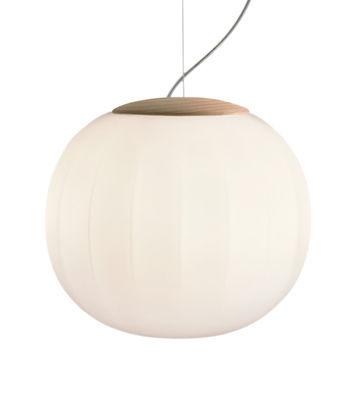 Lita Pendelleuchte / LED - Ø 42 cm - Luceplan - Esche,Opalinweiß