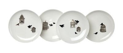 Tavola - Piatti  - Piatto Freedom Birds / Set da 4 - Ø 20 cm - Pols Potten - Motivi neri & oro - Porcellana verniciata