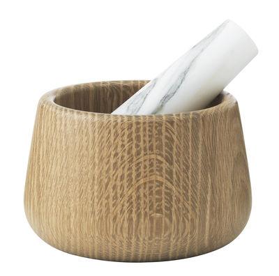 Pilon et mortier Craft - Normann Copenhagen chêne naturel,marbre blanc en bois