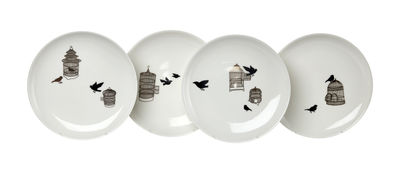Tableware - Plates - Freedom Birds Plate - Set of 4 - Ø 20 cm by Pols Potten - Black & gold - Varnished china