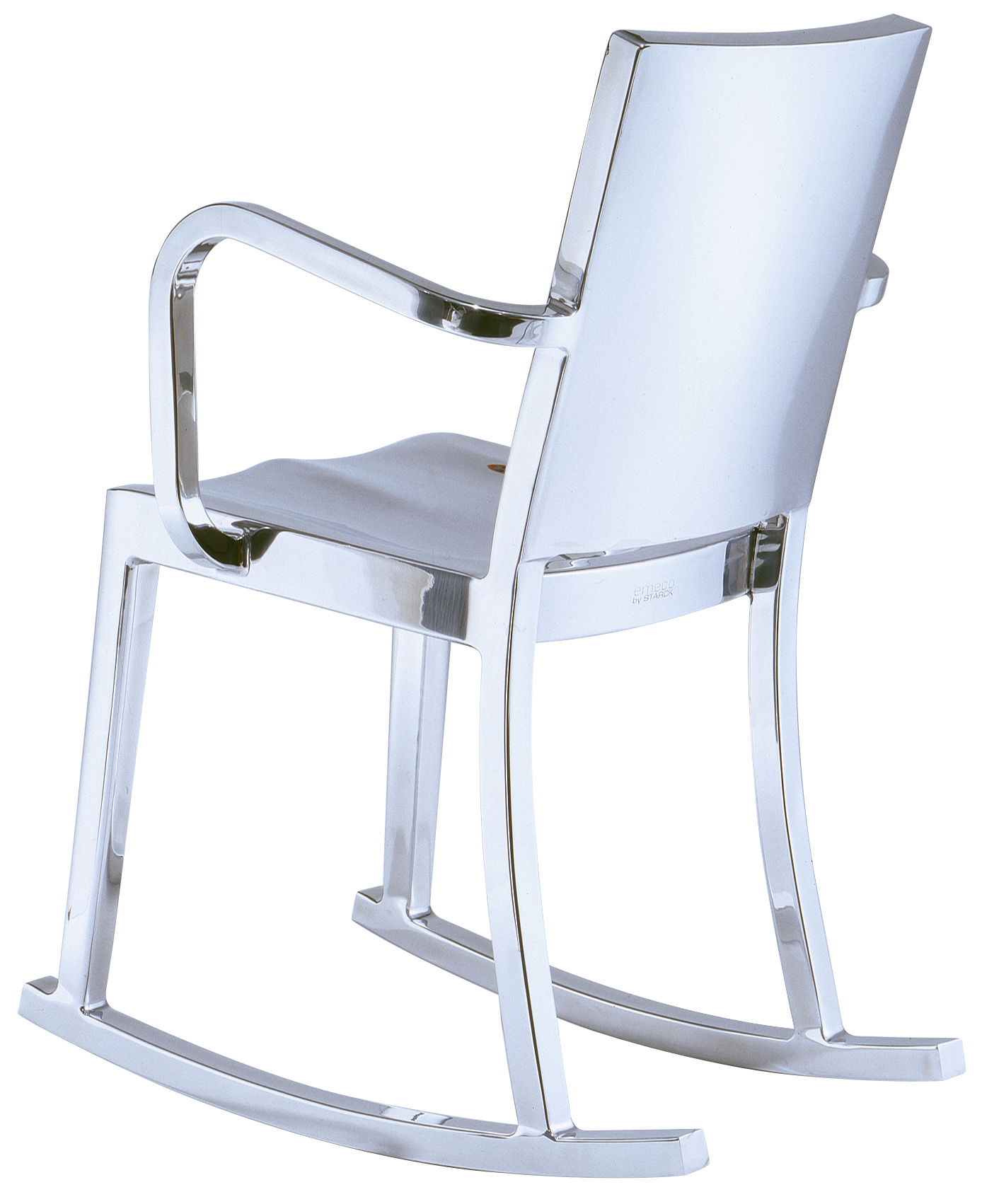 Furniture - Armchairs - Hudson Indoor Rocking chair by Emeco - Polished aluminium - Aluminium poli recyclé