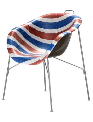 Möbel - Stühle  - Eu/phoria Made To Measure Sessel - Eumenes - Gestell grau / Sitzschale rot-blau-weiß gestreift - gefirnister Stahl, Gewebe, Holz, Polypropylen