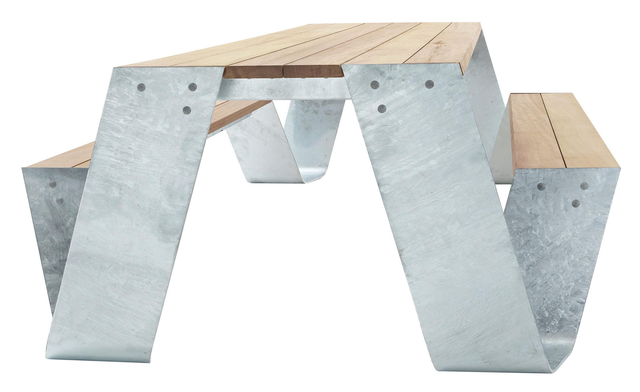 Outdoor - Tables de jardin - Set table & assises Hopper / 240 x 83 cm - Extremis - Acier galvanisé / Bois - Acier galvanisé, Frêne traité