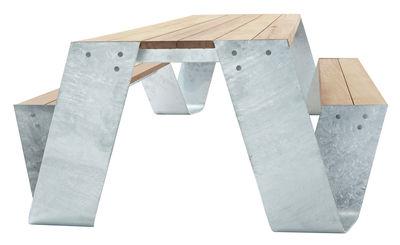 Set table & bancs Hopper / 240 x 83 cm - Extremis bois,acier galvanisé en métal