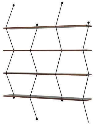 Furniture - Bookcases & Bookshelves - Climb Shelf - / Mega - L 135 x H 183 cm by La Chance - Walnut / Black uprights - Metal, Solid walnut