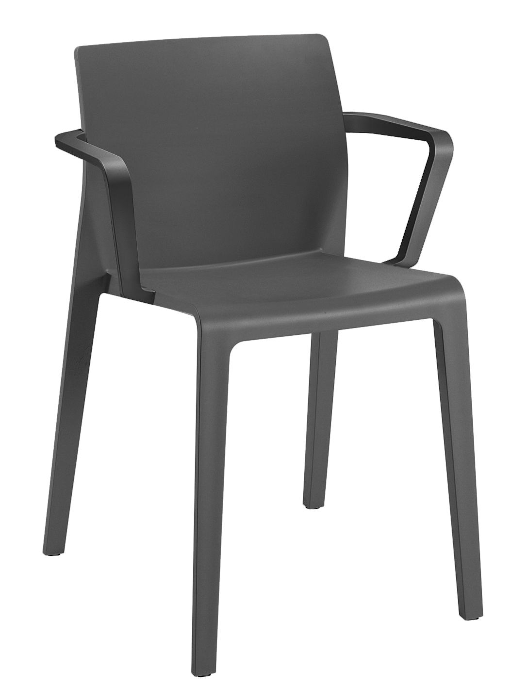 Furniture - Chairs - Juno Stackable armchair by Arper - Anthracite - Polypropylene