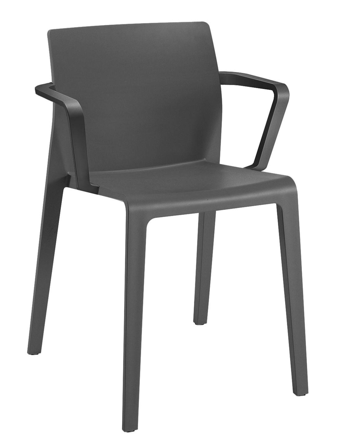 Möbel - Stühle  - Juno Stapelbarer Sessel - Arper - Anthracite - Polypropylen