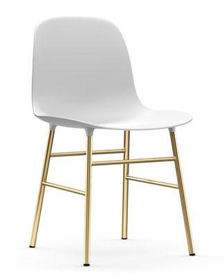Möbel - Stühle  - Form Stuhl / Stuhlbeine Messing - Normann Copenhagen - Weiß / Messing - Acier plaqué laiton, Polypropylen