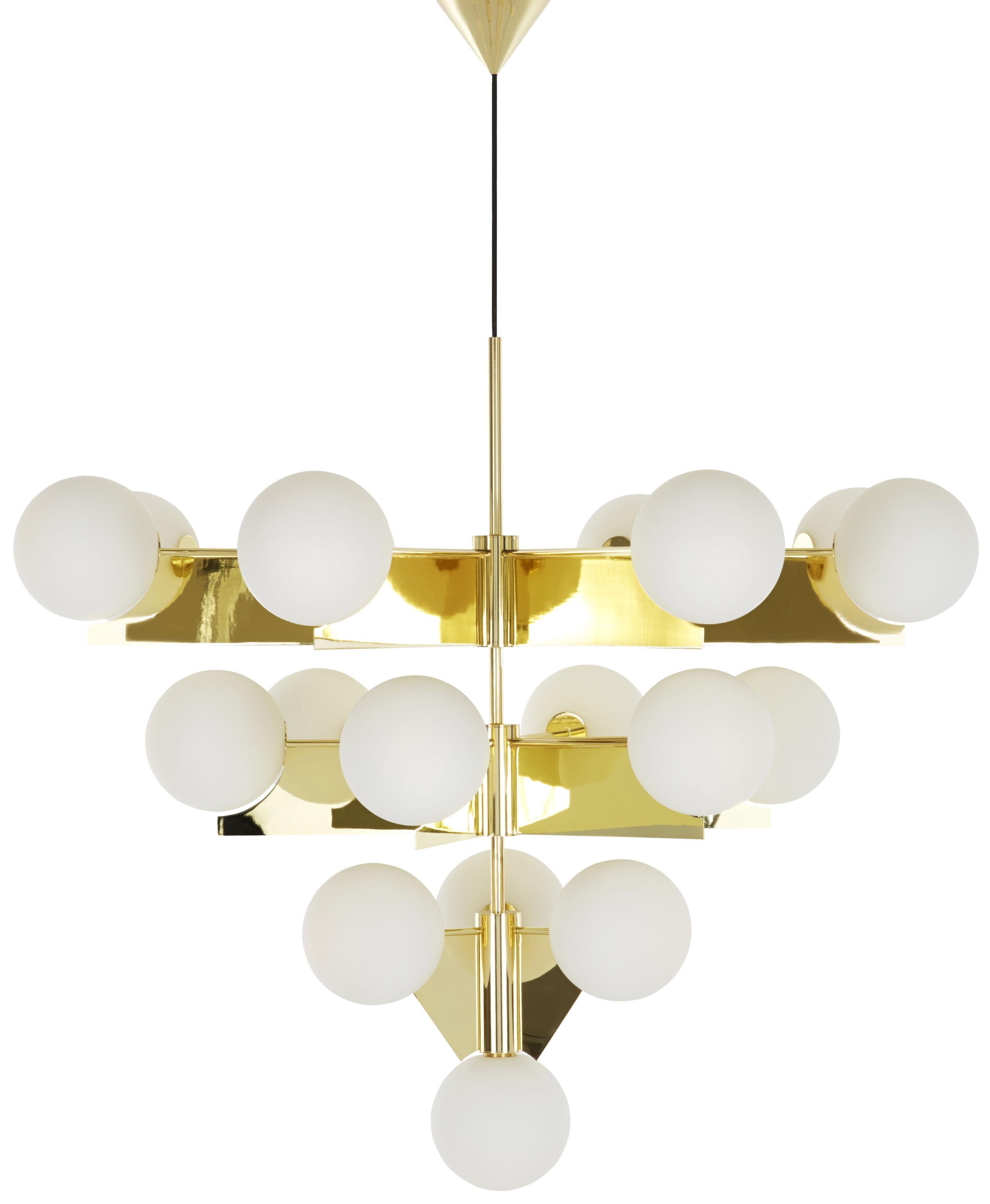 Luminaire - Suspensions - Suspension Plane / Lustre - Ø 105 x H 75 cm - Tom Dixon - Laiton poli / Sphères blanches - Acier plaqué laiton, Verre