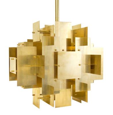 Suspension Puzzle Chandelier / H 50 cm - Jonathan Adler laiton doré en métal