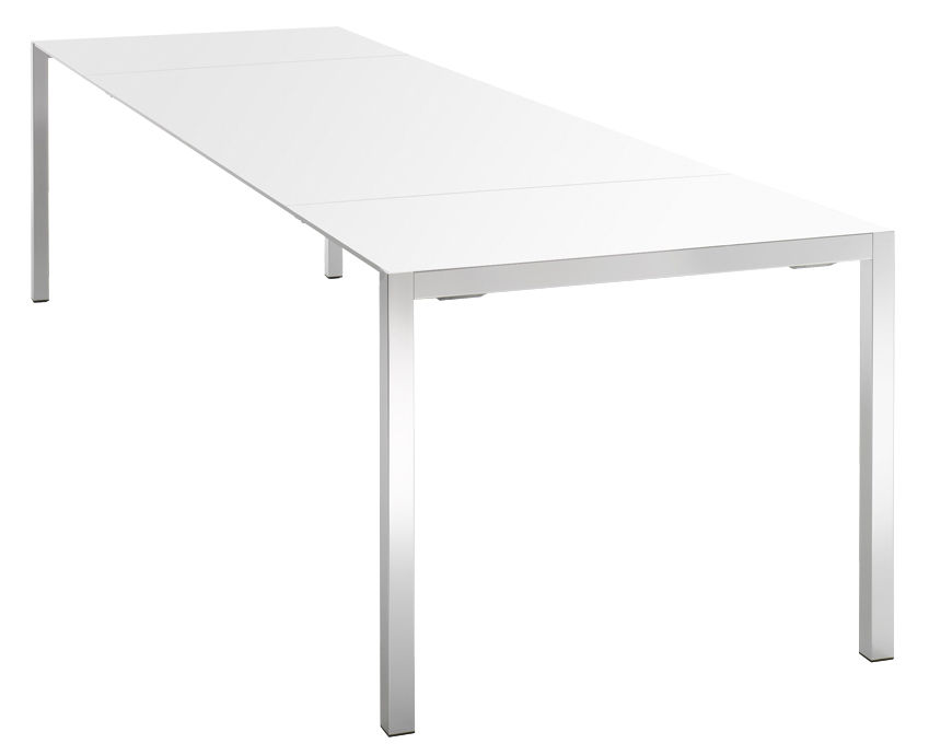 Rentrée 2011 UK - Bureau design - Table à rallonge EXT / L 140 à 200 cm - MDF Italia - Plateau résine blanche / Pieds alu brillant - Aluminium poli, Résine