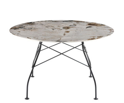 Table ronde Glossy Marble / Ø 128 cm - Grès effet marbre - Kartell noir,beige,brun en céramique