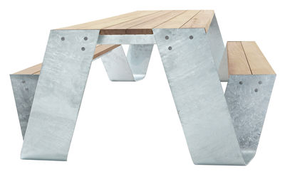 Outdoor - Garden Tables - Hopper Table & seats set by Extremis - Galvanized steel / wood - Ash, Galvanized steel