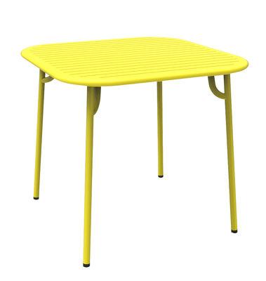 Table Week-end / 85 x 85 cm - Aluminium - Petite Friture jaune en métal