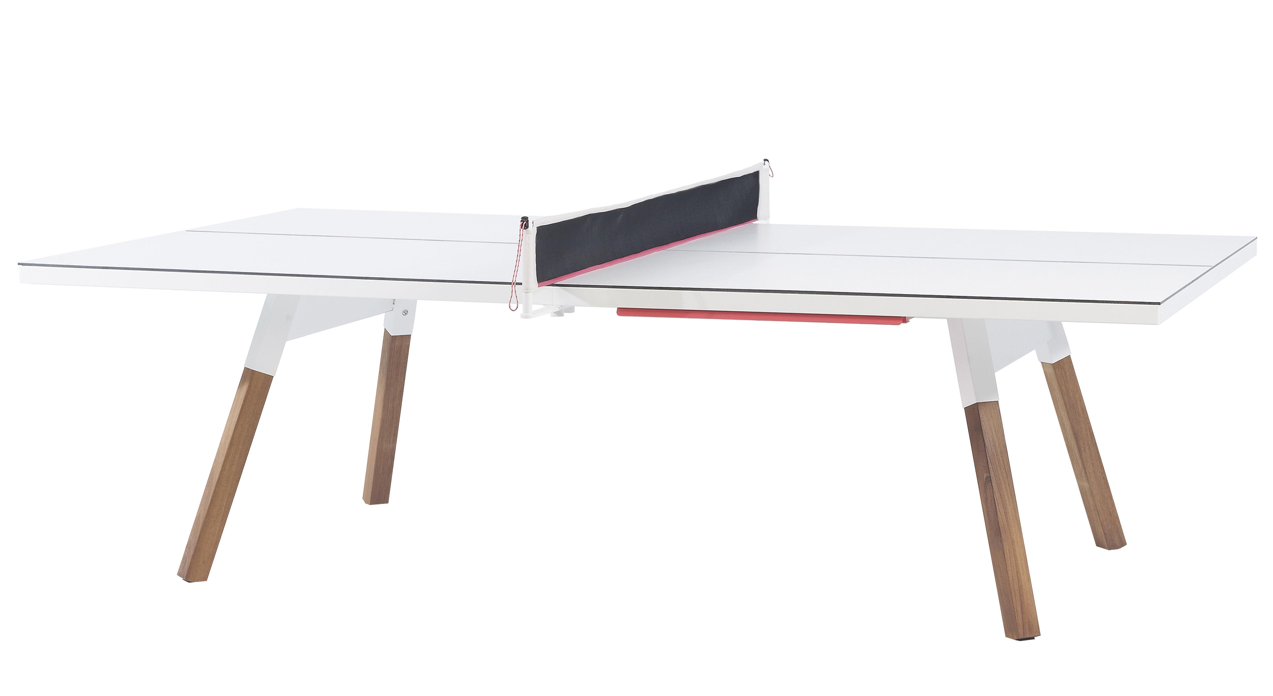Outdoor - Tavoli  - Tavolo Y&M / L 220 cm - Tavolo ping pong & pasti - RS BARCELONA - Bianco / Gambe legno - Acciaio, HPL, Legno di iroko