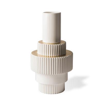 Déco - Vases - Vase Gear Large / Ø24 x H46 cm - Pols Potten - Blanc & or - Porcelaine émaillée