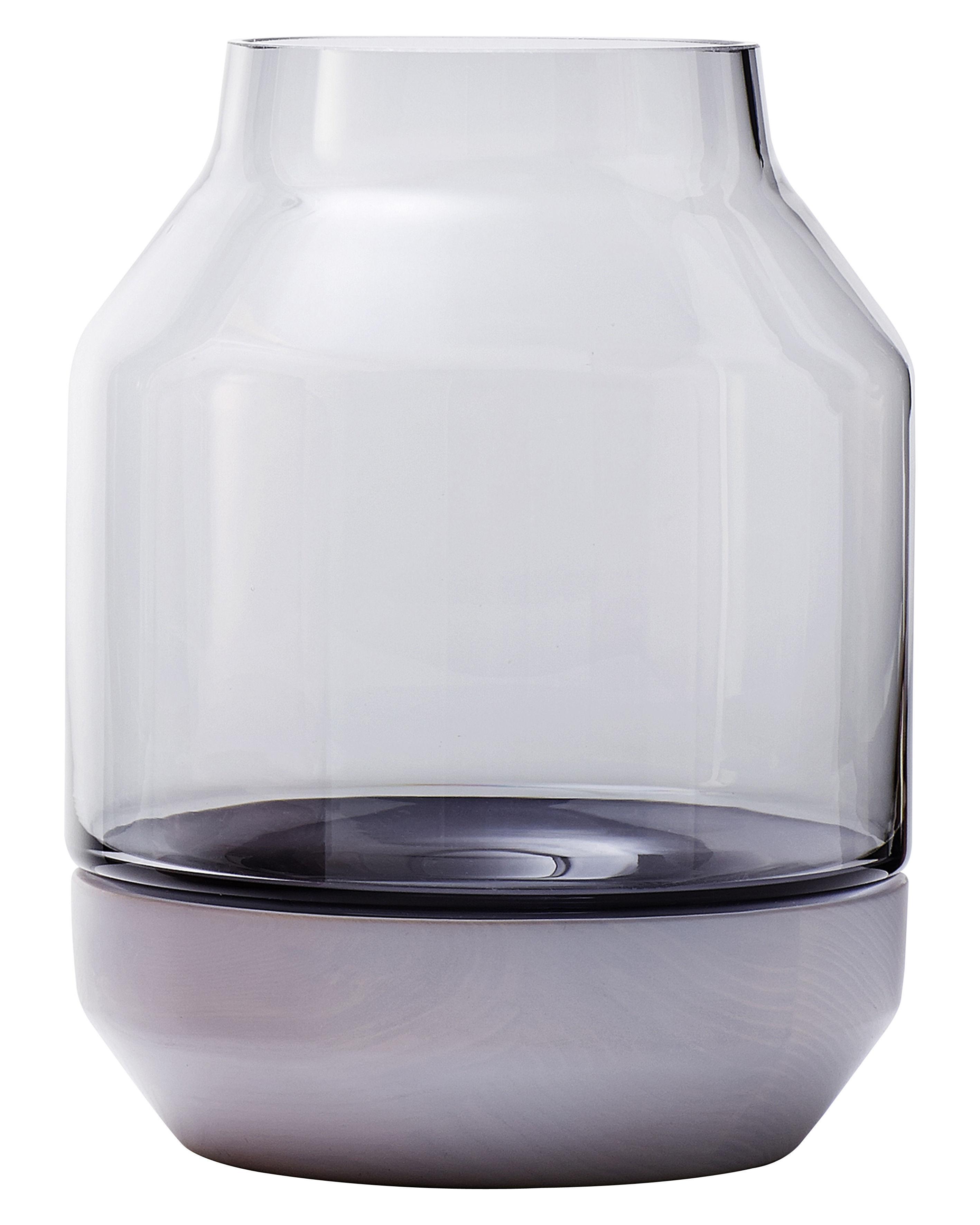 Interni - Vasi - Vaso Elevated di Muuto - Grigio - Frassino tinto, vetro soffiato