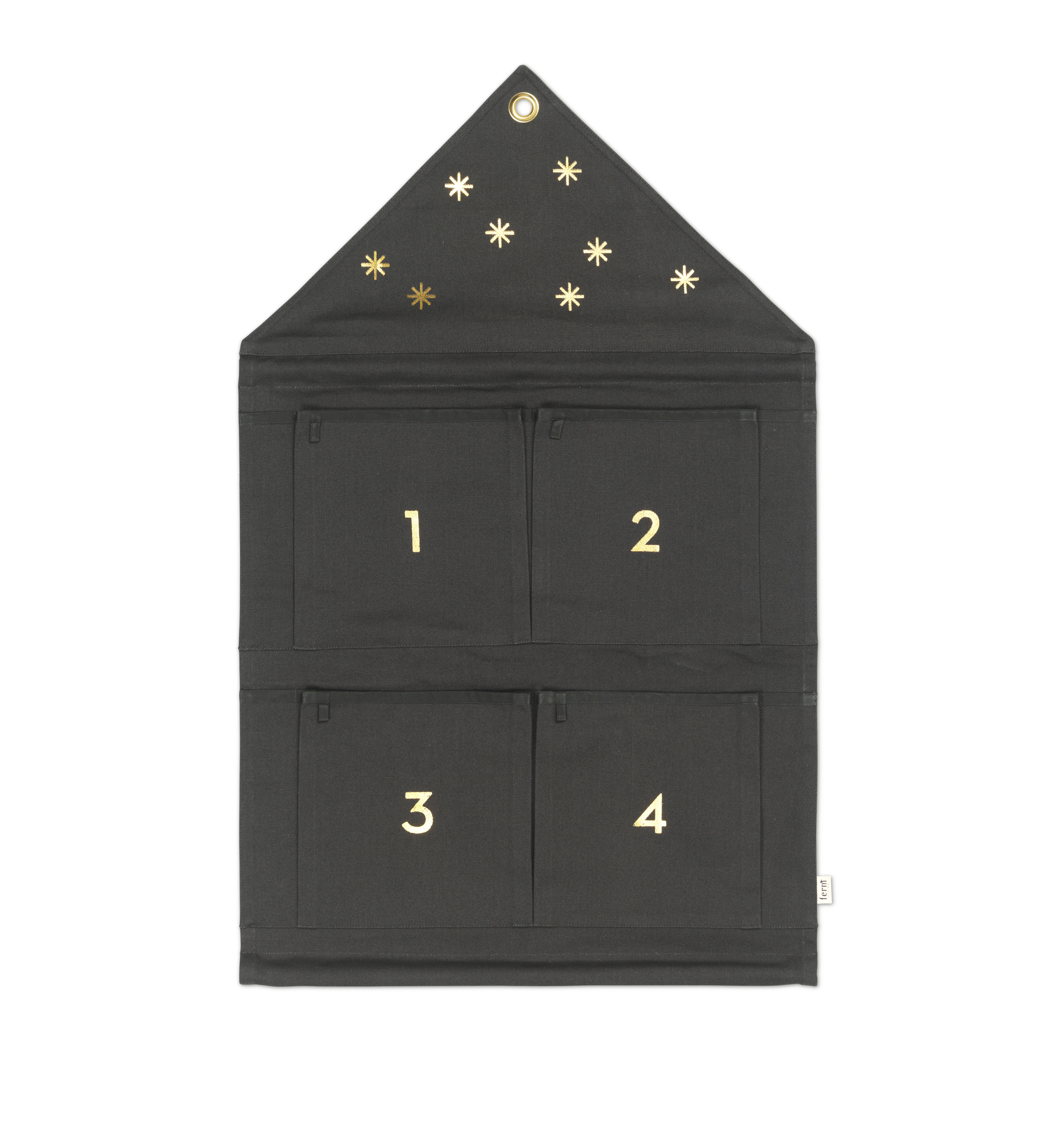 Decoration - Children's Home Accessories - House Advent calendar - / 4 Sundays by Ferm Living - Fir tree green & gold - Cotton