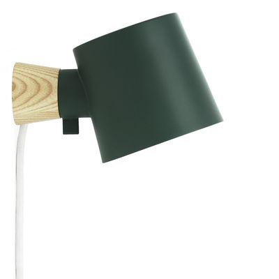 Luminaire - Appliques - Applique avec prise Rise / Orientable - Bois & métal - Normann Copenhagen - Vert pétrole / Bois - Frêne massif, Métal laqué