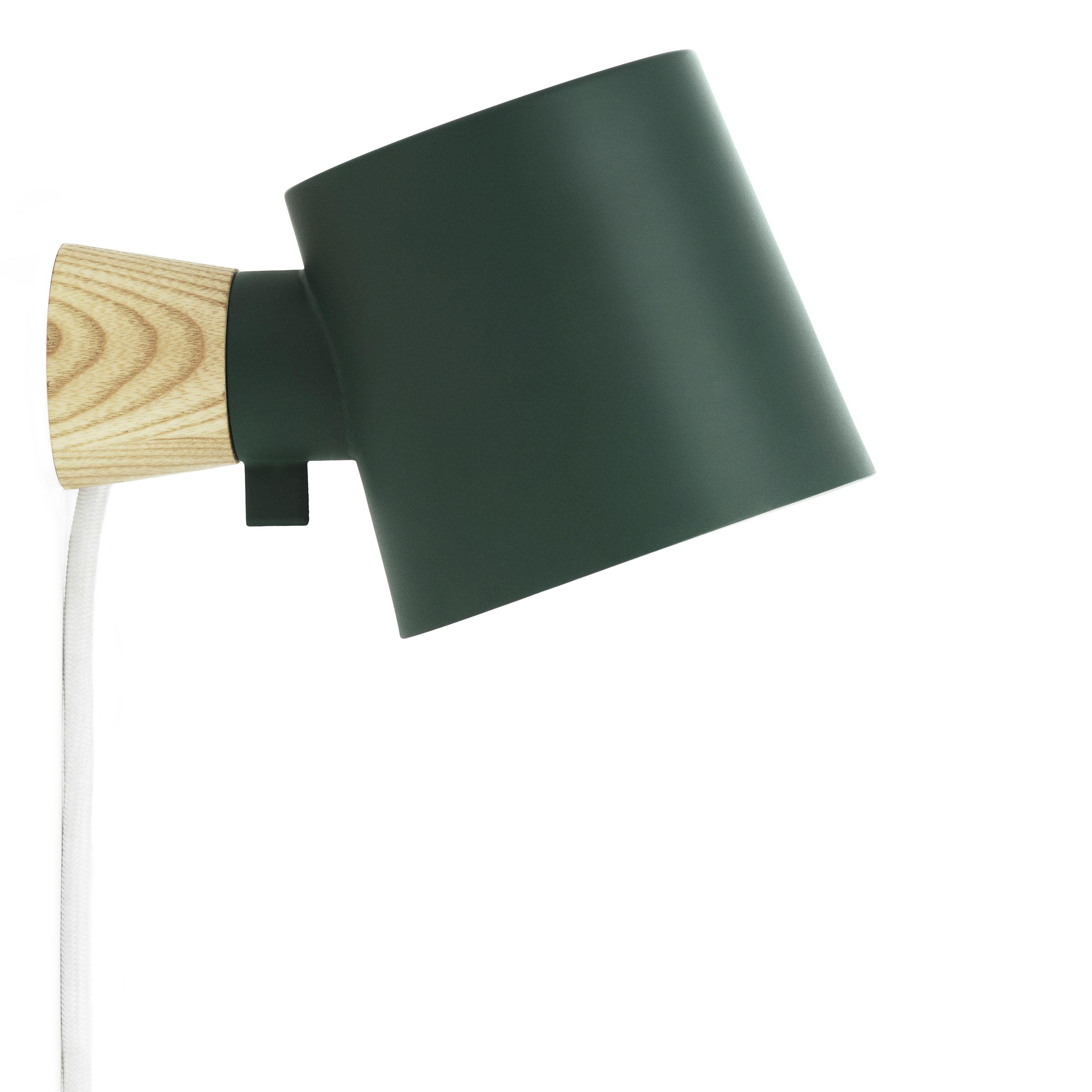 Illuminazione - Lampade da parete - Applique con presa Rise - / Orientabile - Legno & metallo di Normann Copenhagen - Verde petrolio / Legno - Frassino massello, metallo laccato