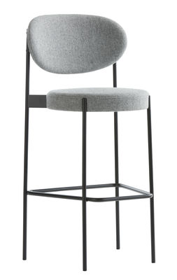 Furniture - Bar Stools - Series 430 Bar stool - / Rembourré - Tissu - H 75 cm by Verpan - Tissu / Gris clair - Fabric, Foam, Stainless steel