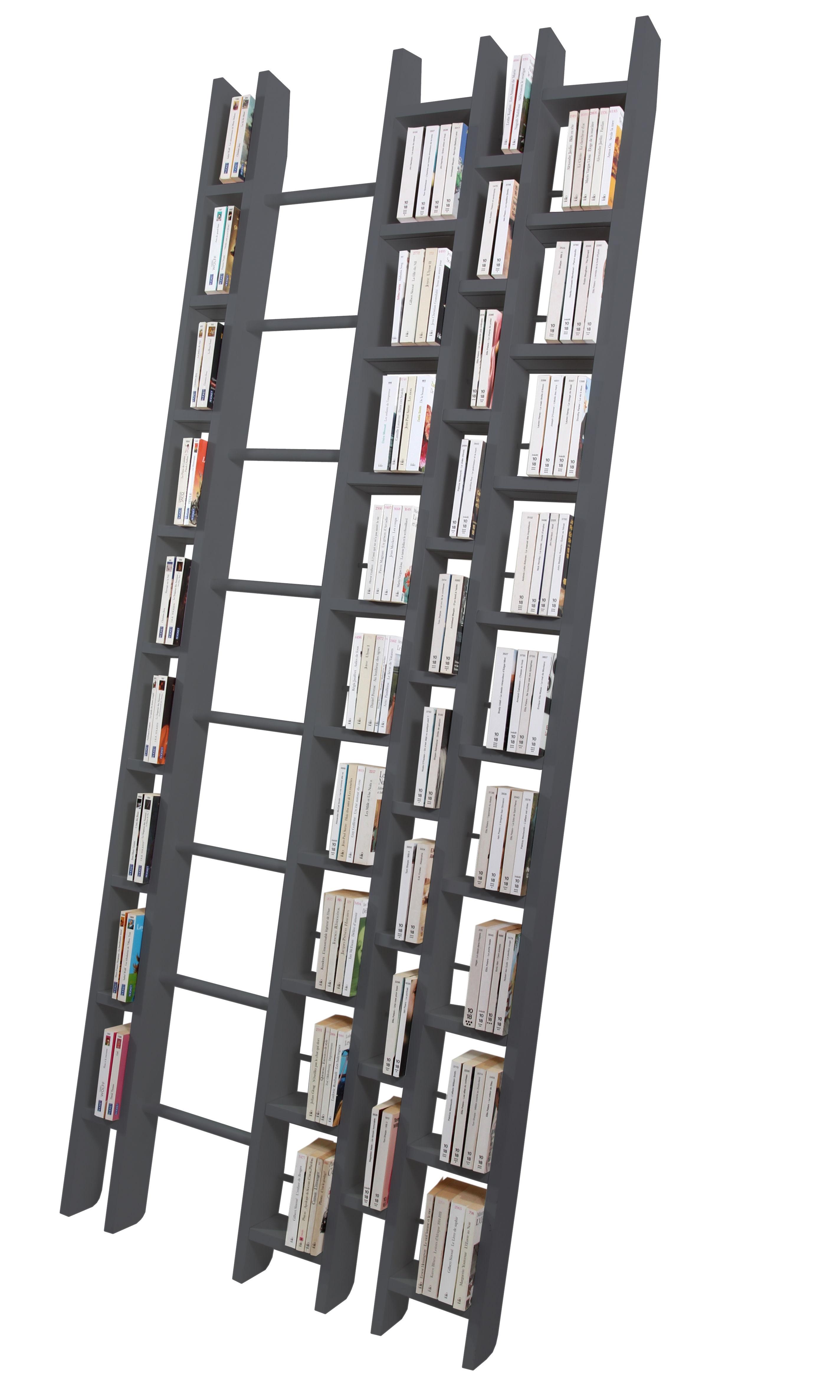 Möbel - Regale und Bücherregale - Hô + Bücherregal B 96 cm - Exklusivmodell - La Corbeille - grau - Hêtre massif laqué