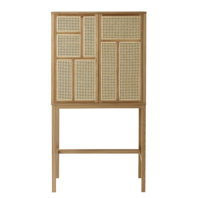 Buffet haut Air / Cannage rotin - L 80 x H 154 cm - Design House Stockholm bois naturel en bois