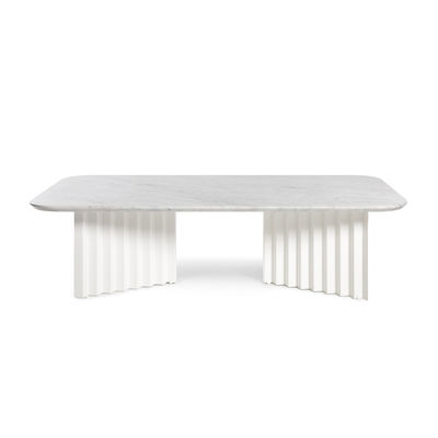 Furniture - Coffee Tables - Plec Large Coffee table - / Marble - 115 x 60 x H 30 cm by RS BARCELONA - White - Marble, Steel