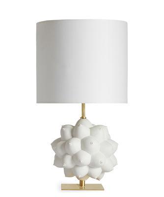 Lampe de table Georgia / Porcelaine - Seins en relief - Jonathan Adler blanc,laiton en céramique