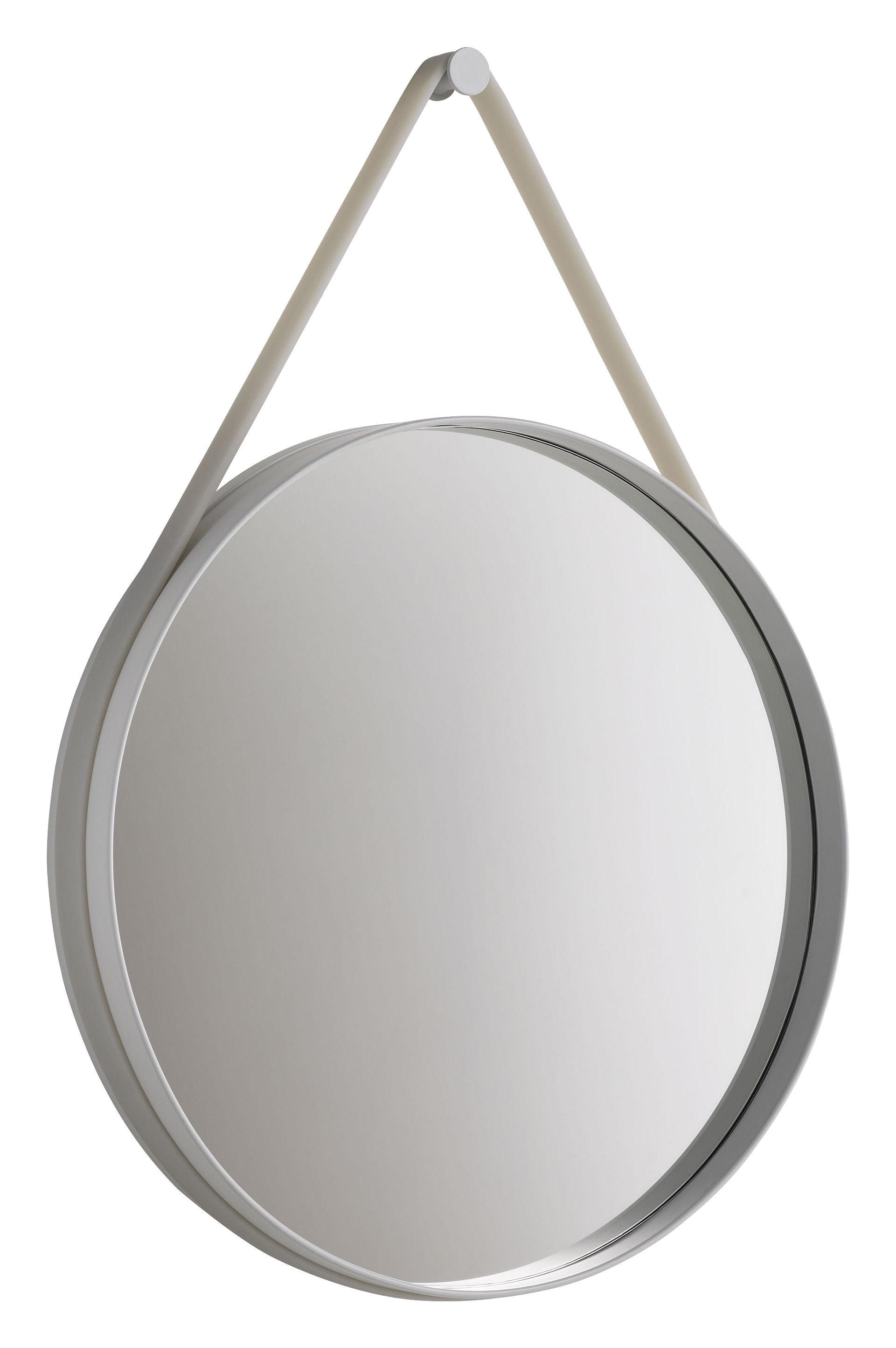 Mobilier - Miroirs - Miroir mural Strap / Ø 70 cm - Hay - Gris clair - Acier laqué, Silicone