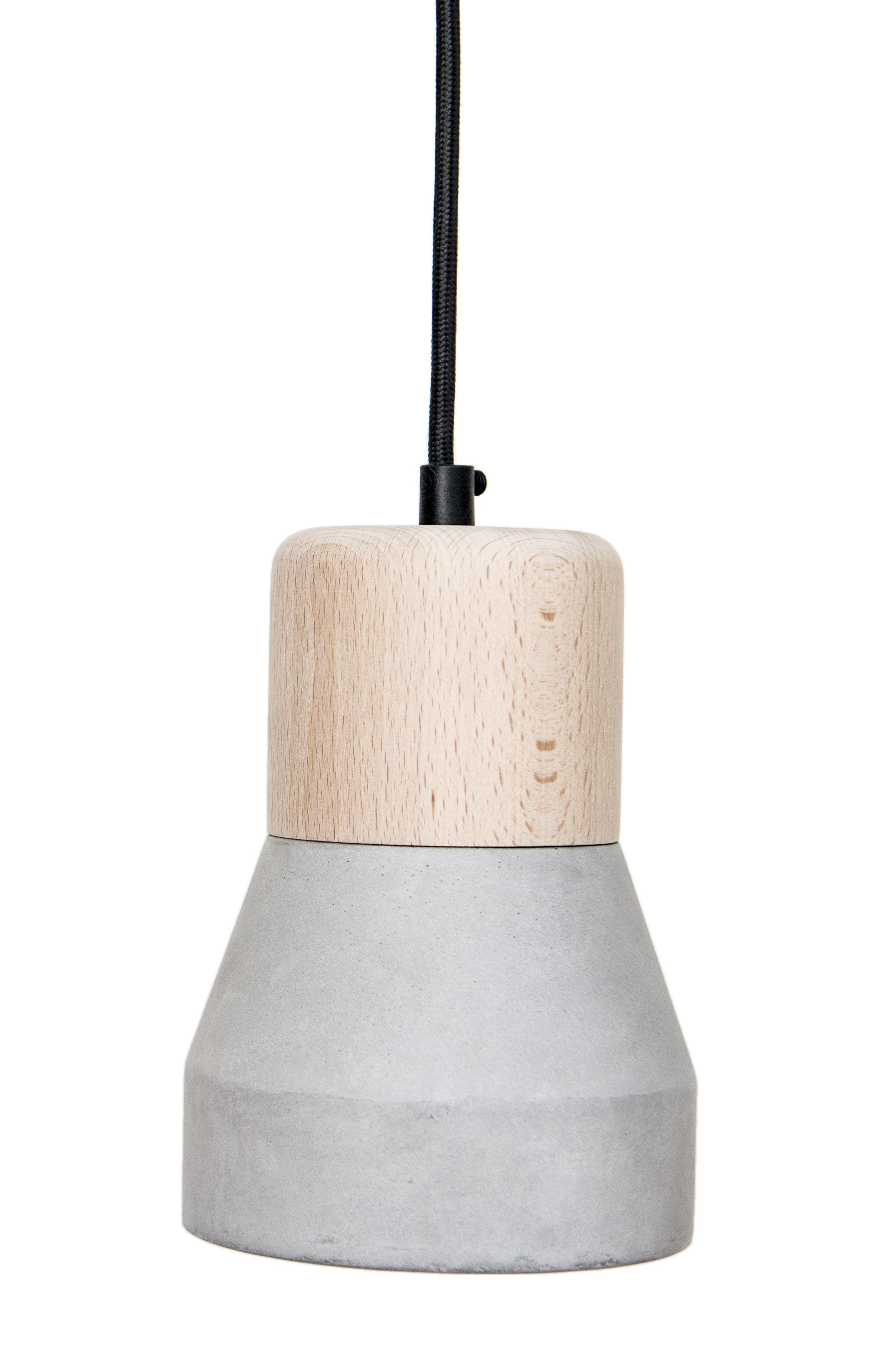 Lighting - Pendant Lighting - Cement Wood Pendant by Spécimen Editions - Wood / Bottom : grey concrete - Beechwood, Concrete